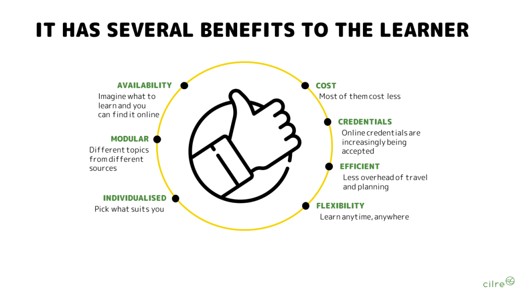 Benefits of online learning for the learner